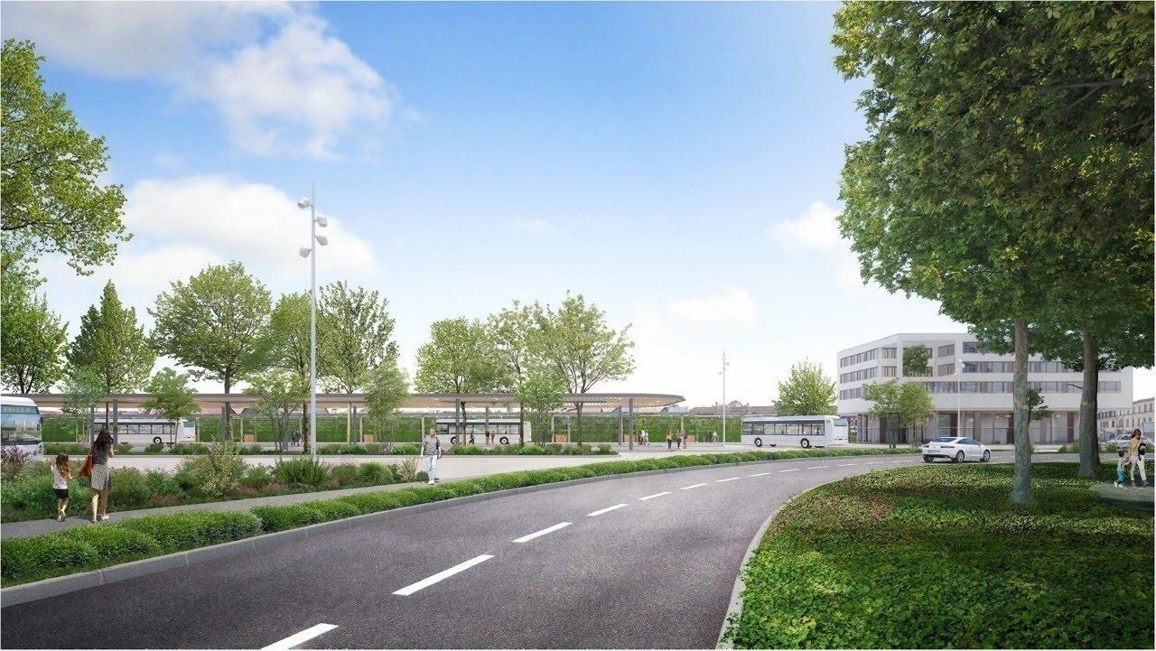 perspective de la gare routière nord de Poissy après aménagements.